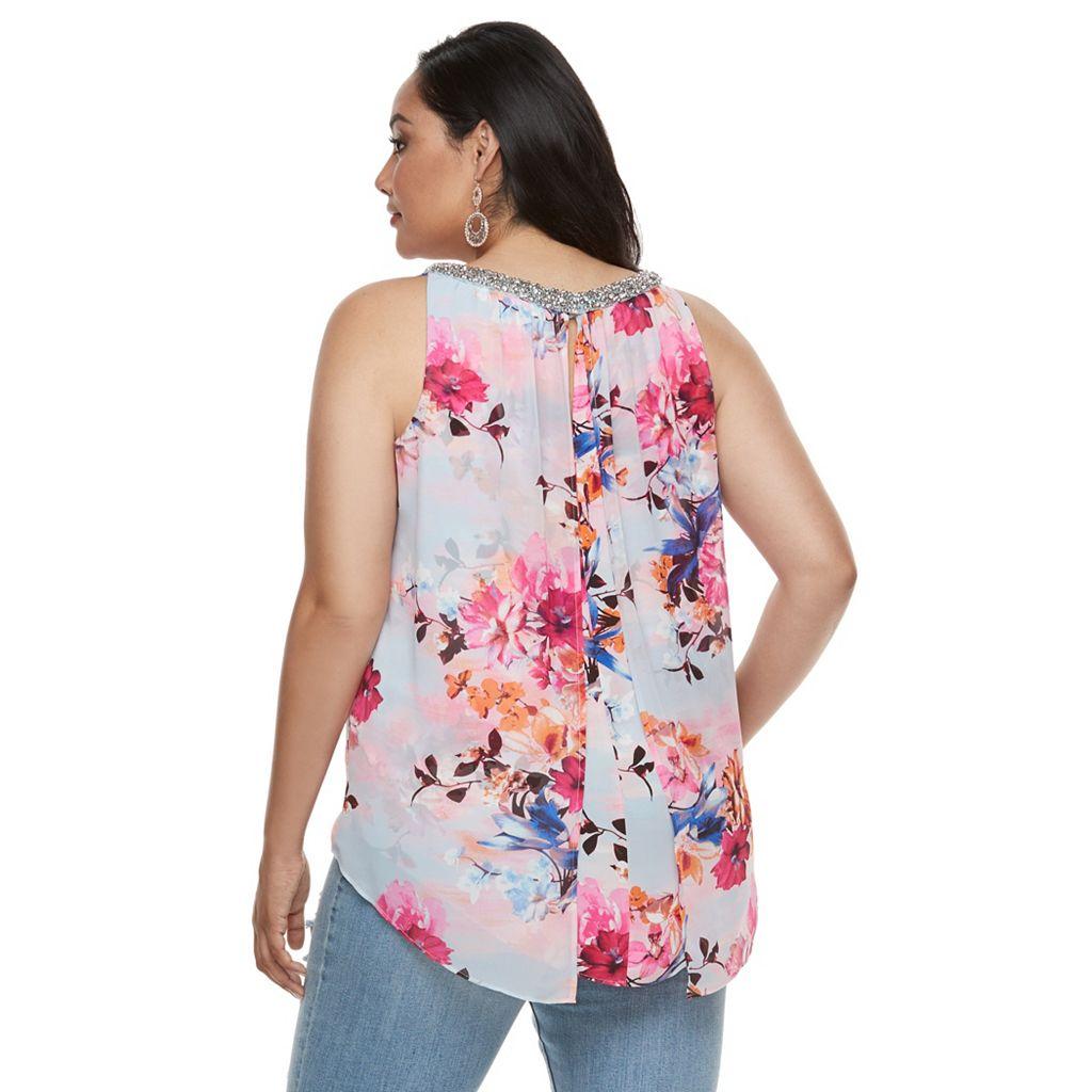 Plus Size Jennifer Lopez Floral Beaded Crepe Top