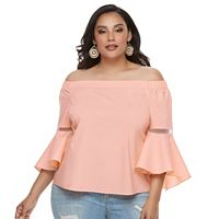 Plus Size Jennifer Lopez Solid Off-the-Shoulder Top