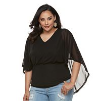Plus Size Jennifer Lopez Mesh Cape Top