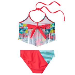 Girls 4-16 Big Chill Fringe Tankini & Scoop Bottoms Swimsuit Set