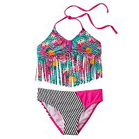 Girls 4-16 Big Chill Fringe Tankini & Scoop Bottoms Swimsuit Set