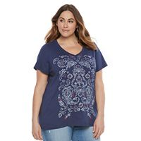 Plus Size Patriotic Graphic V-Neck Tee