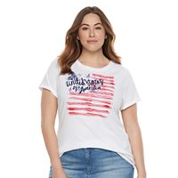 Plus Size Patriotic Graphic Crewneck Tee