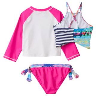 "Girls 4-16 Big Chill ""Surfer Girl"" Rashguard, Tankini & Scoop Bottoms Swimsuit Set"