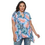 Plus Size Jennifer Lopez Keyhole Sharkbite-Hem Top
