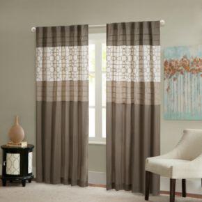 Madison Park 1-Panel Jeffrey Pieced Embroidered Fret Window Curtain