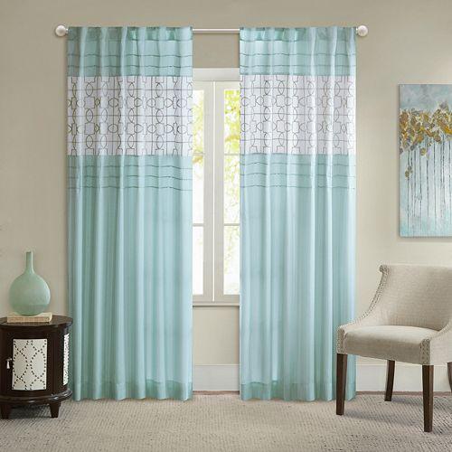 Madison Park Jeffrey Pieced Embroidered Fret Window Curtain