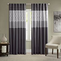 Madison Park Jeffrey Pieced Embroidered Fret Curtain