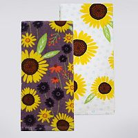 Celebrate Fall Together Purple Sunflower Kitchen Towel 2-pk.