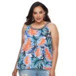Plus Size Jennifer Lopez Print Ruffled Crepe Tank Top