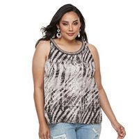 Plus Size Jennifer Lopez Print Ruffled Crepe Tank Top