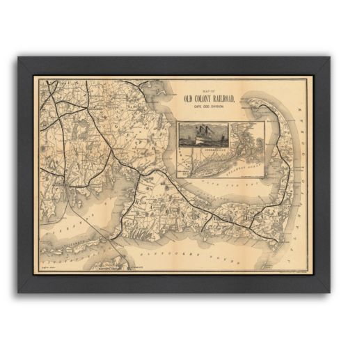 "Americanflat ""Old Colony Railroad, Cape Cod"" Map Framed Wall Art"