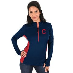 Plus Size Majestic Cleveland Indians 1/2-Zip Pullover
