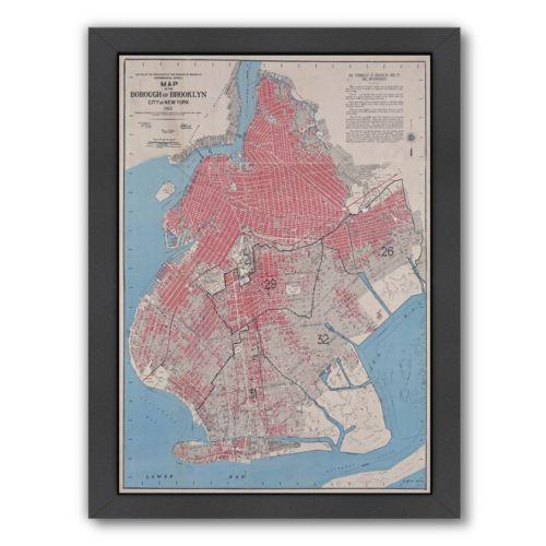 "Americanflat ""Borough Of Brooklyn"" Map Framed Wall Art"