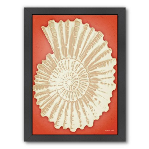 Americanflat White Ammonite Shell On Coral Framed Wall Art