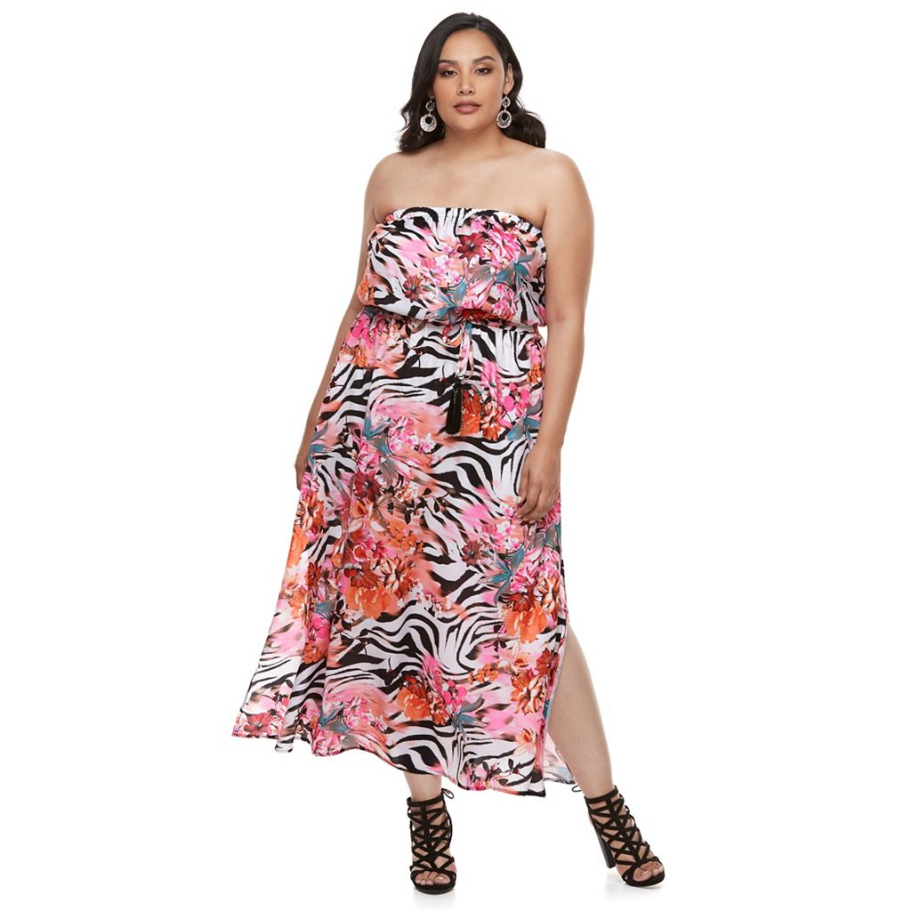 Plus Size Jennifer Lopez Zebra-Print Strapless Maxi Dress