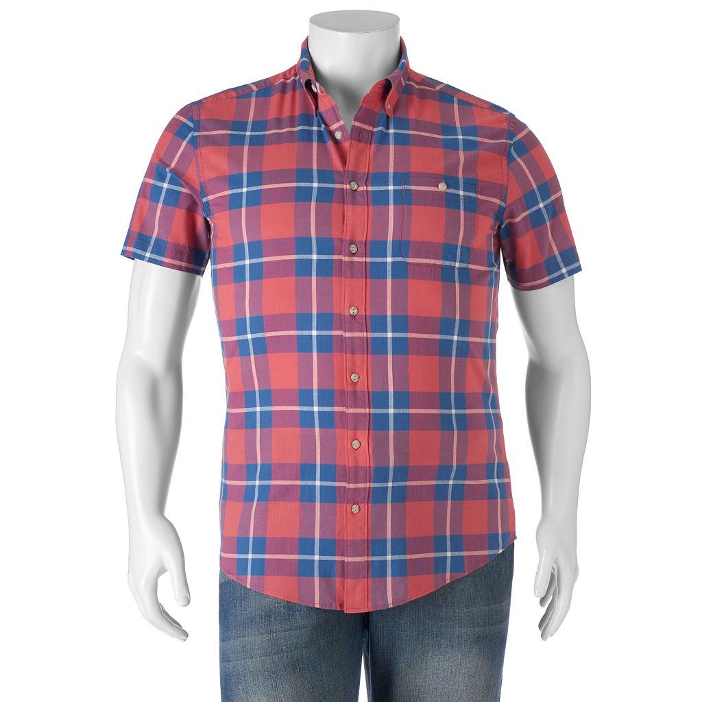 Big & Tall SONOMA Goods for Life™ Flexwear Modern-Fit Plaid Button-Down Shirt