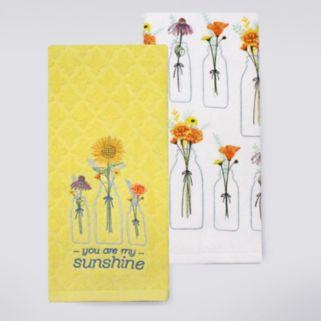 Celebrate Fall Together Flower Jars Kitchen Towel 2-pk.