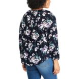 Plus Size Chaps Cotton Long Sleeve Peasant Top