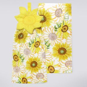 Celebrate Fall Together Sunflower Button Top Kitchen Towel 2-pk.