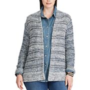 Plus Size Chaps Open-Front Marled Cardigan