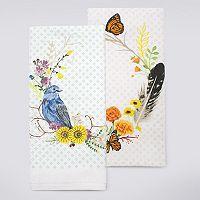 Celebrate Fall Together Bird Wreath Kitchen Towel 2-pk.