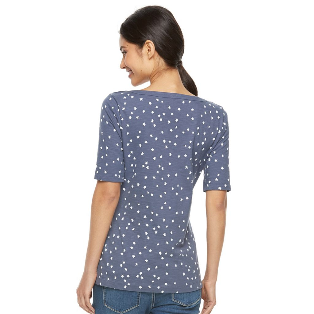 Petite Croft & Barrow® Button-Shoulder Graphic Tee