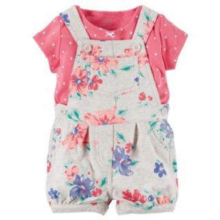 Baby Girl Carter's Polka-Dot Tee & Floral French Terry Shortalls Set