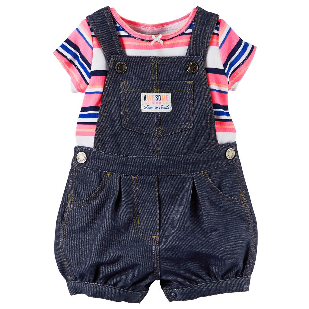 Baby Girl Carter's Floral Tee & Denim-Like Shortalls Set