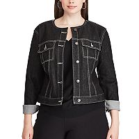 Plus Size Chaps Cropped Black Denim Jacket