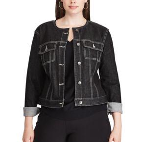 Plus Size Chaps Cropped Black Denim Jacket