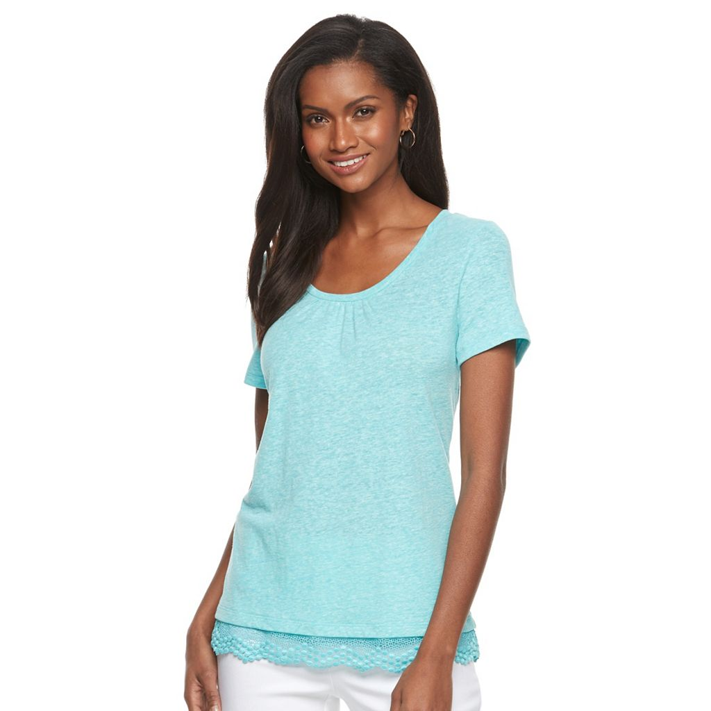 Women's Croft & Barrow® Lace Hem Linen Tee