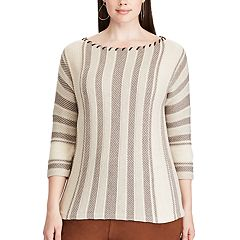 Plus Size Chaps Striped Cotton-Blend Sweater