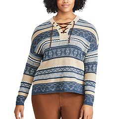 Plus Size Chaps Striped Lace-Up Sweater