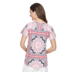 Women's Croft & Barrow® Printed Splitneck Top