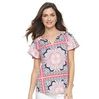 Women's Croft & Barrow® Printed Splitneck Top