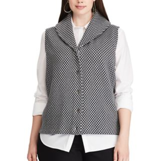 Plus Size Chaps Button-Down Sweater Vest