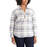 Plus Size Chaps Plaid Zip-Front Shirt
