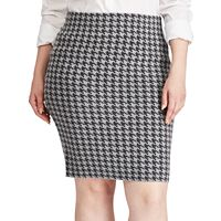 Plus Size Chaps Houndstooth Pencil Skirt