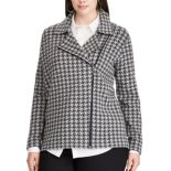 Plus Size Chaps Houndstooth Moto Jacket
