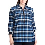 Plus Size Chaps Buffalo Plaid Long Sleeve Pullover Top