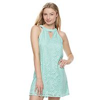 Juniors' Speechless Lace Halter Shift Dress