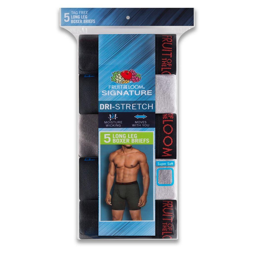 Men's Fruit of the Loom Signature 5-pack Dri-Stretch Long-Leg Boxer Briefs