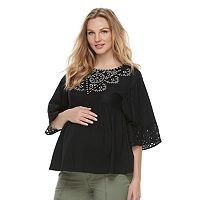 Maternity a:glow Embroidered Peasant Top