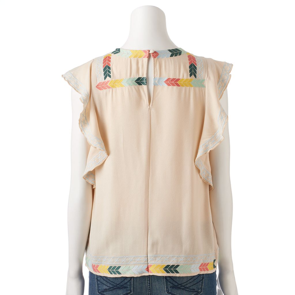 Women's LC Lauren Conrad Embroidered Ruffle Top