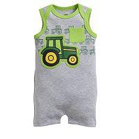 Baby Boy John Deere Tractor Applique Romper