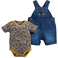 Baby Boy John Deere Construction Bodysuit & Denim Shortalls Set