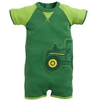 Baby Boy John Deere Embroidered Tractor Romper