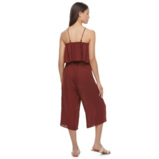 Juniors' Speechless Popover Gaucho Jumpsuit