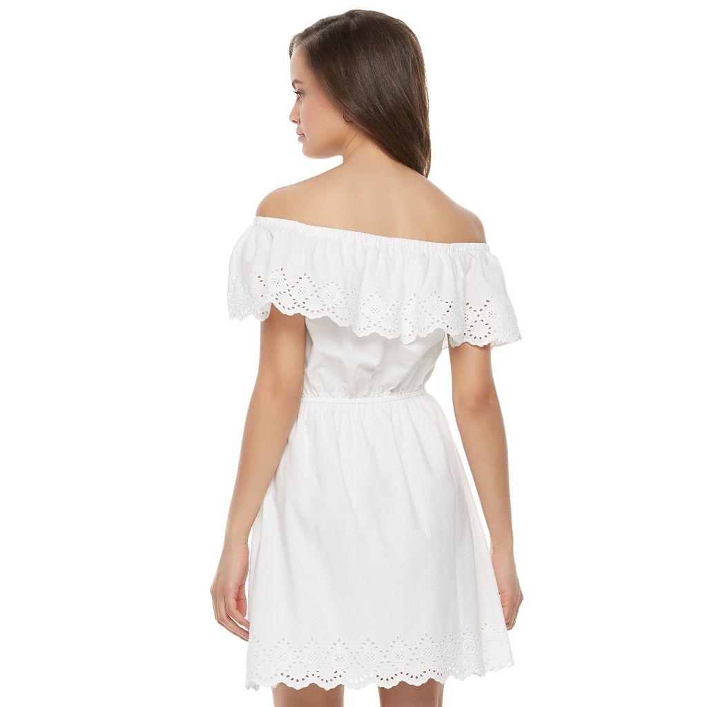 Juniors' SO® Eyelet Off The Shoulder Dress